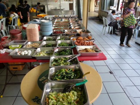 Inexpensive food is sold at Petaling Street Market