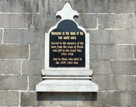 Inscription on Ipoh War Memorial