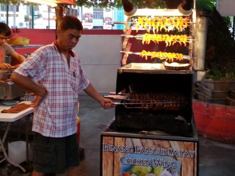 Satay chicken wing stall in Red Garden Food Paradise