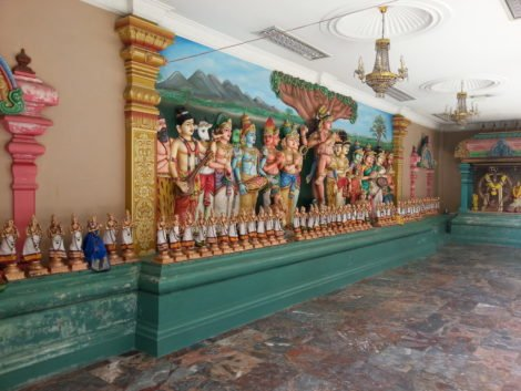 Scenes from Hindu stories adorn the temples
