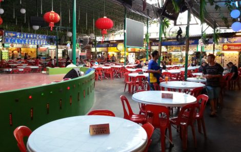 Seating and stage in Red Garden Food Paradise