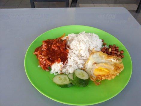 Classic nasi lemak for breakfast