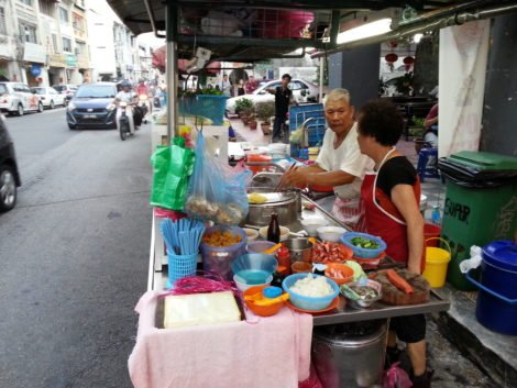 Kway teow soup stall on Chulia Street